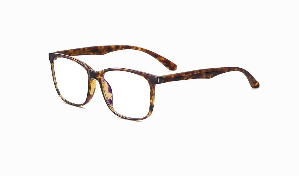 men rectangle eyeglasses tortoise shell frame and temple arms