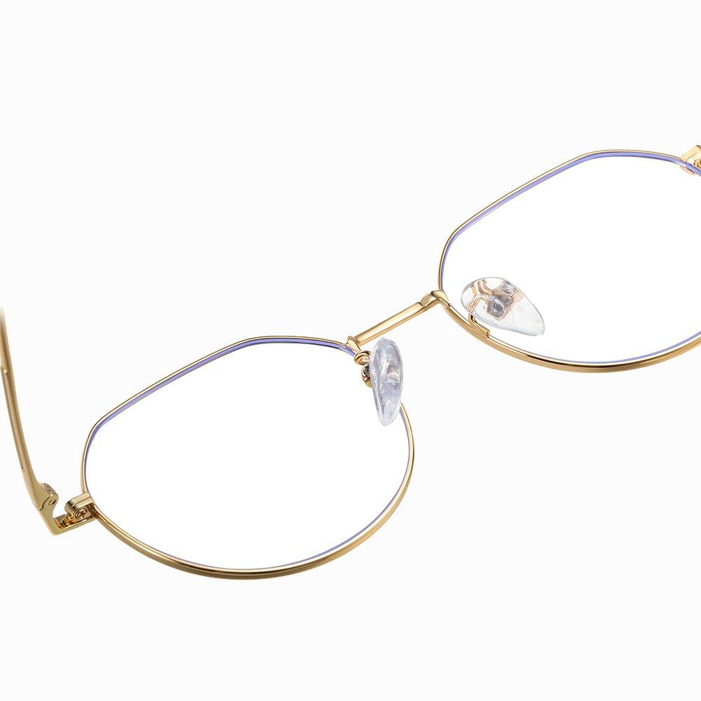 gold frame eyeglasses with adjustable nsoe pads