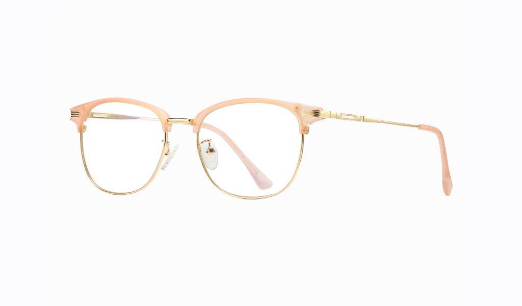 women half frame eyeglasses, pink top frame and gold trimmed lenses