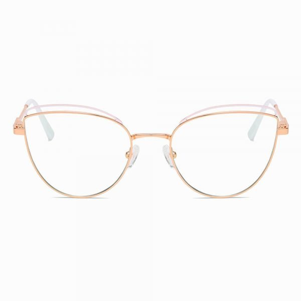Gold Pink Round Blue Light Glasses for Women